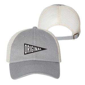 Maddon's Post Original Pennant Grey Mesh Adjustable Strapback Cap | Maddon's Post
