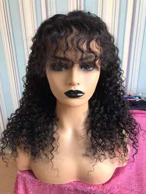 360 Curly Wig With Fringe Bangs