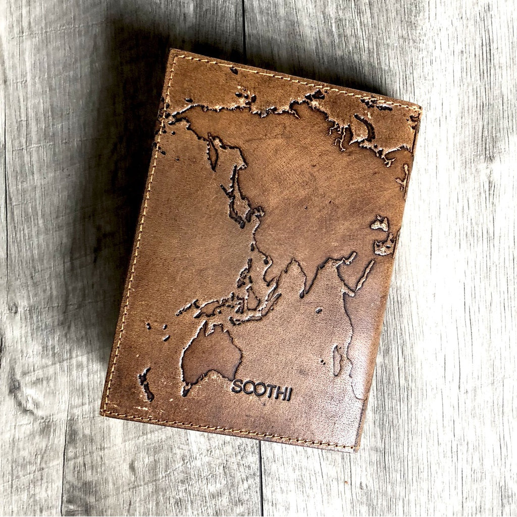 Refillable world map handmade leather journal the novelty boutique refillable world map handmade leather journal gumiabroncs Choice Image