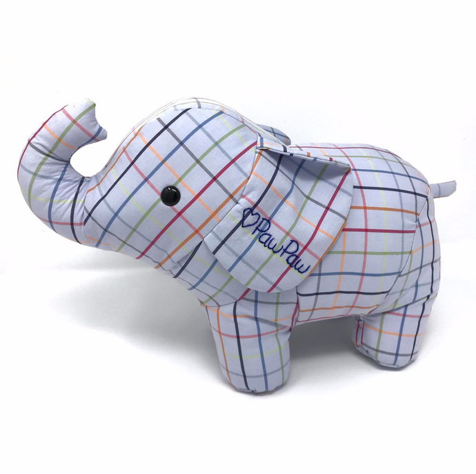 Memorial Elephant Stuffed Animal Made from a Shirt