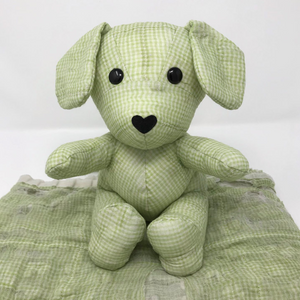 stuffed animal made from an old baby blanket