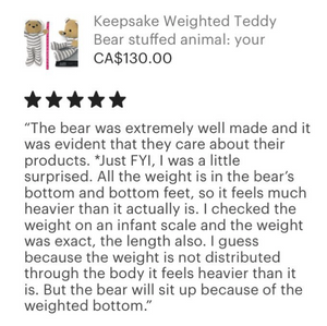 keepsake birth weighted bear