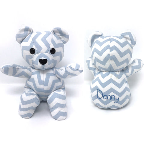 baby keepsake teddy made from a crib sheet