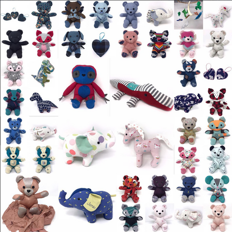 Keepsake teddy bears made from your clothing