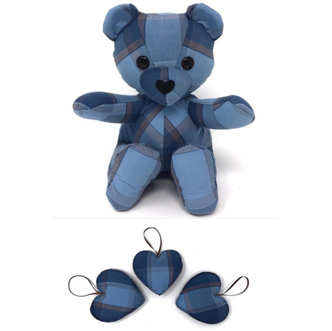 memorial teddy bear and ornaments
