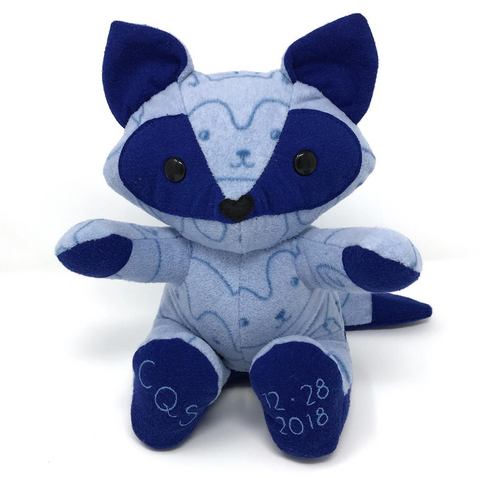 blue fleece baby keepsake fox