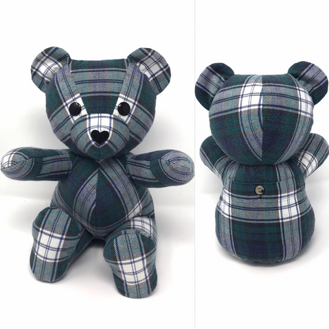 memory bear made from a plaid shirt