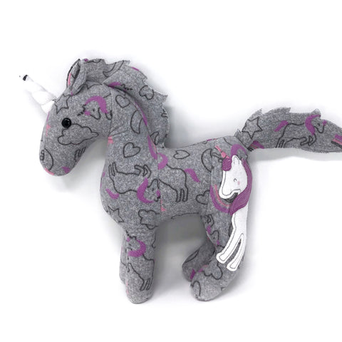 unicorn made from baby clothes