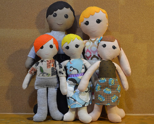 Custom Doll Family: 2 Adults + Kids - Nestling Kids Keepsakes