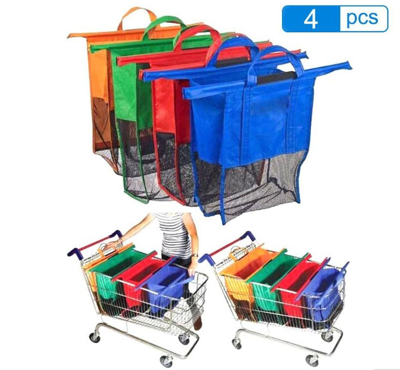 8f6fecac3 Conjunto de 4 bolsas reutilizables para carritos de supermercado (4pcs/Set  Trolley Supermarket Shopping