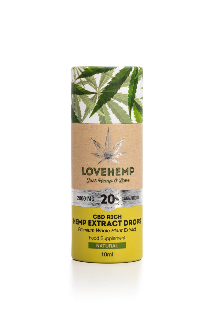 שמן סי בי די LOVE HEMP® 2000MG 20% CBD OIL 10ML  בישראל cbd שמן