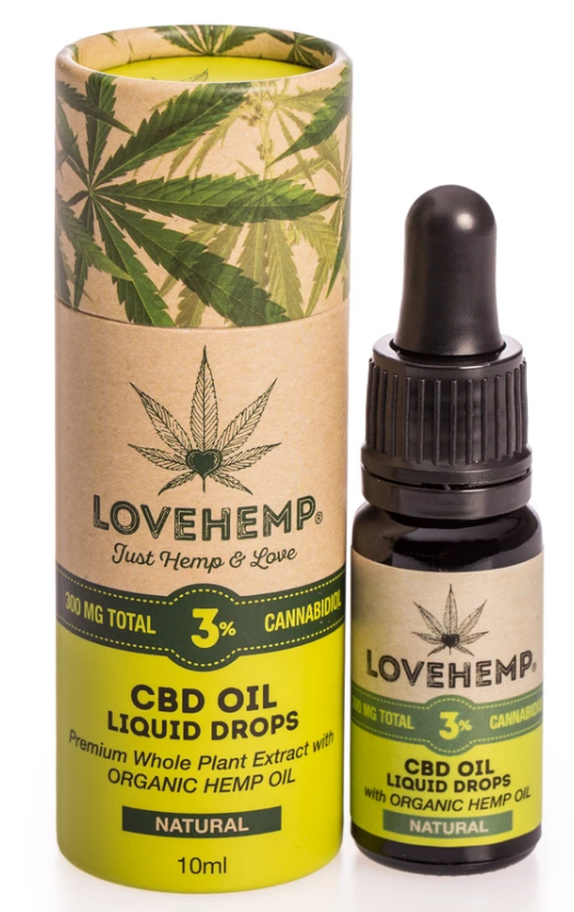ישראל CBD שמן - LOVE HEMP® 300MG CBD OIL  10ML 3% שמן סיבידי