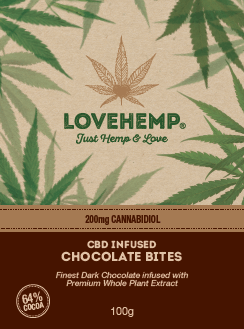 LOVE HEMP® CBD Chocolate Bites 200mg CBD – 100g  שוקולד מריר סי בי די ישראל
