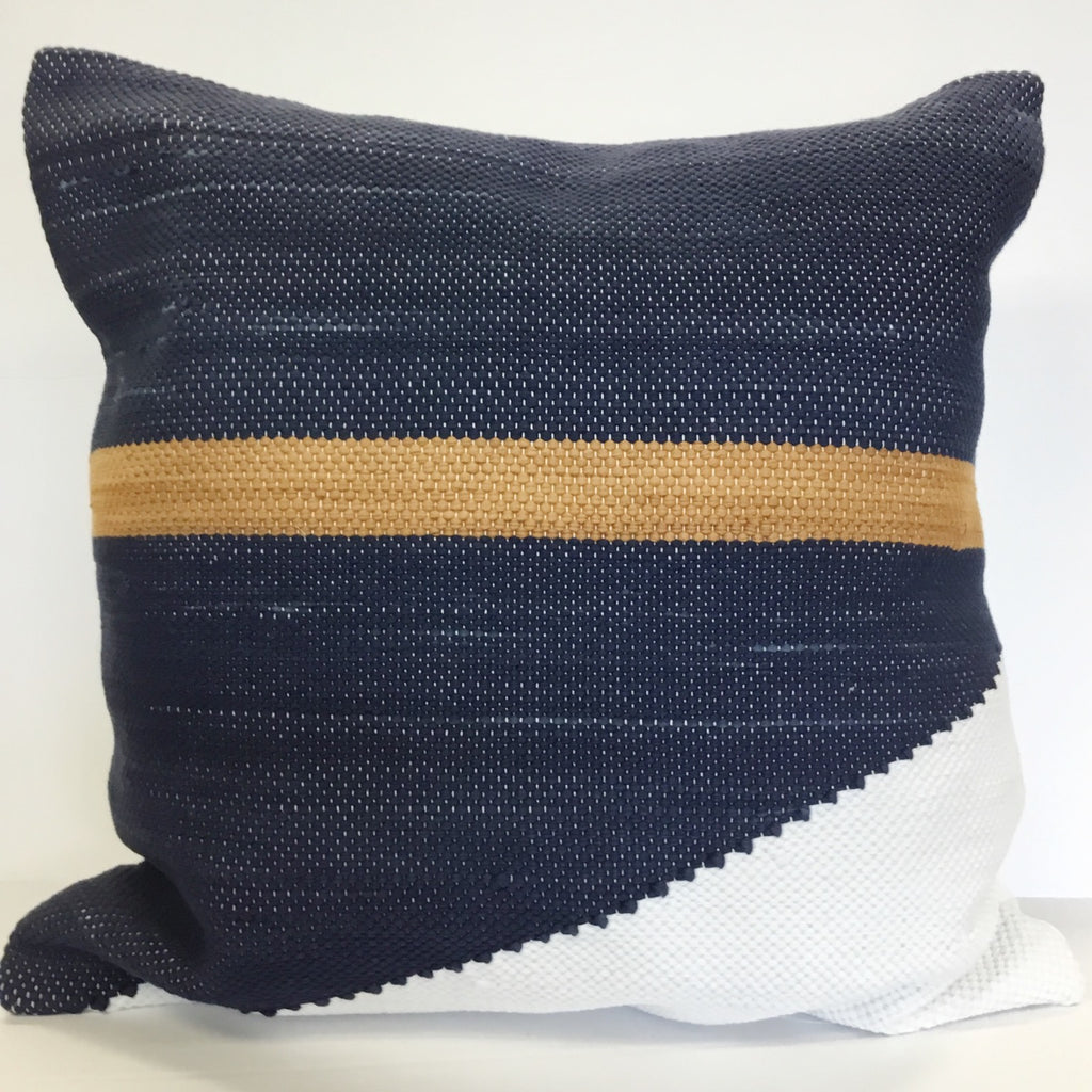 Coussin collection Authentique style matelot marine, blanc et caramel