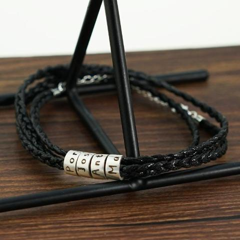 Braided Leather Bracelet - Custom Beads
