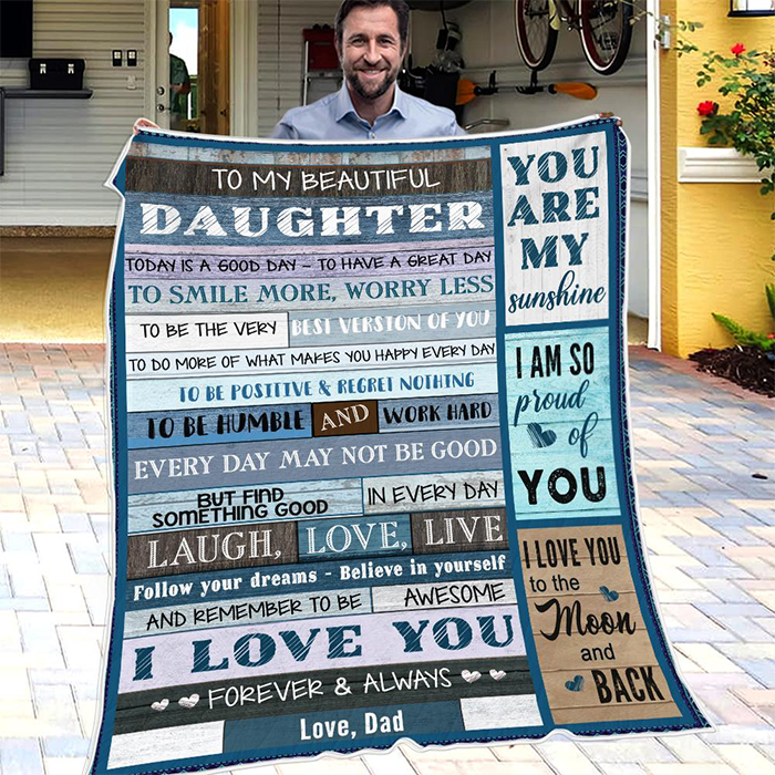Christmas limited time discount 50%-Dad To Daughter - Smile More, Worry Less - Blanket