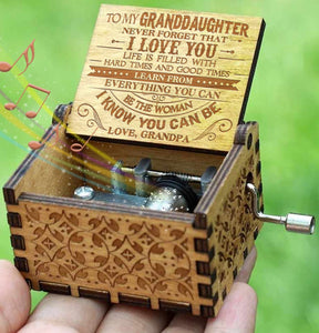 Grandpa To Granddaughter - Hard Times And Good Times - New Engraved Music Box