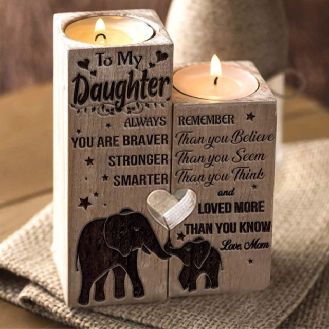 Mom to Daughter - You Are Loved More Than You Know - Engraved Candle Holder
