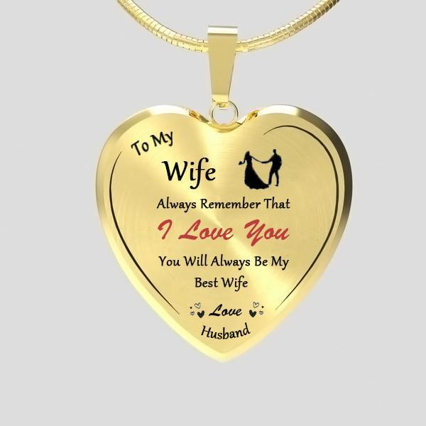 To My Wife Heart Necklace