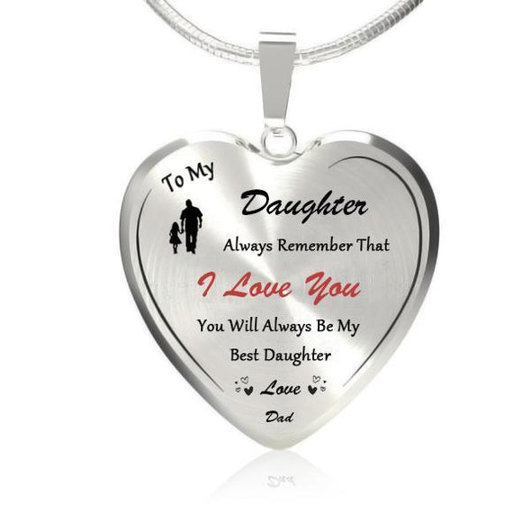 To My Best Daughter (Love Dad) Heart Necklace