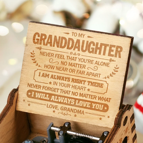 Grandma To Granddaughter ( I Will Always Love You ) Engraved Music Box