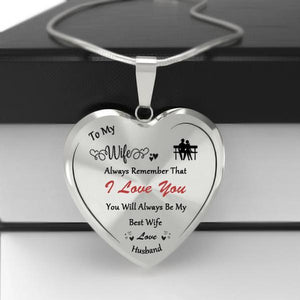 To My Best Wife Heart Necklace