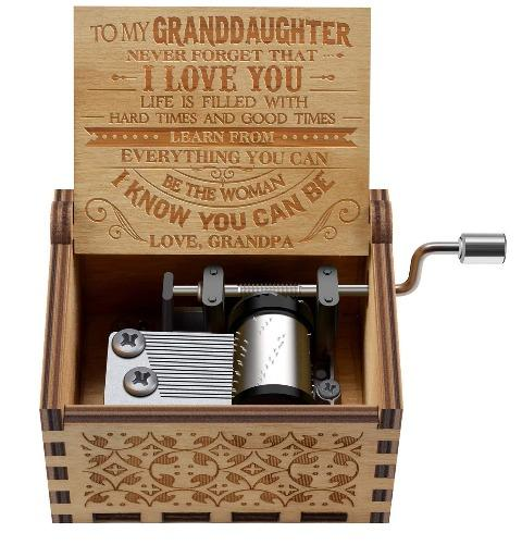 Grandpa To Granddaughter ( Hard Times And Good Times ) New Engraved Music Box