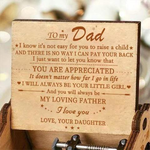 Daughter To Dad - My Loving Father - Engraved Music Box