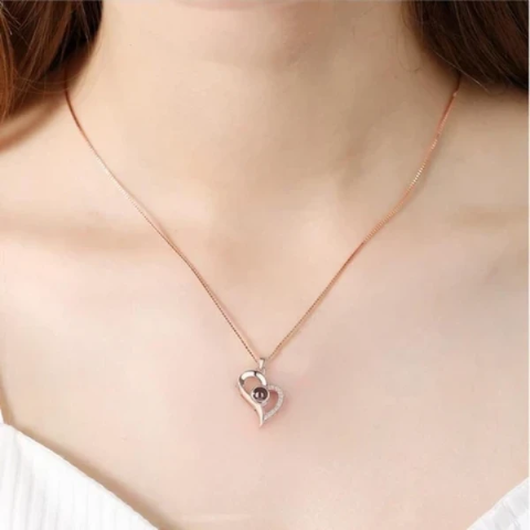 "100 Languages ""I LOVE YOU"" Heart Shape Necklace"