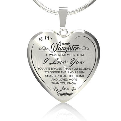 To My GrandDaughter (Love Grandma) Heart Necklace