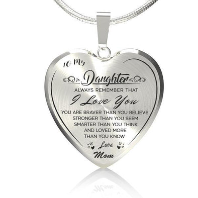 "To My Daughter""I LOVE YOU""Heart Necklace"