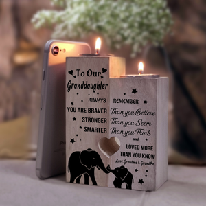 Grandma & Grandpa to  Granddaughter - You Are Loved More Than You Know - Engraved Candle Holder