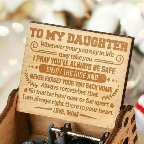 Mum To Daughter - I Am Always Right There In Your Heart - Engraved Music Box