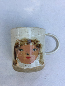 hand painted / face / girl / mug