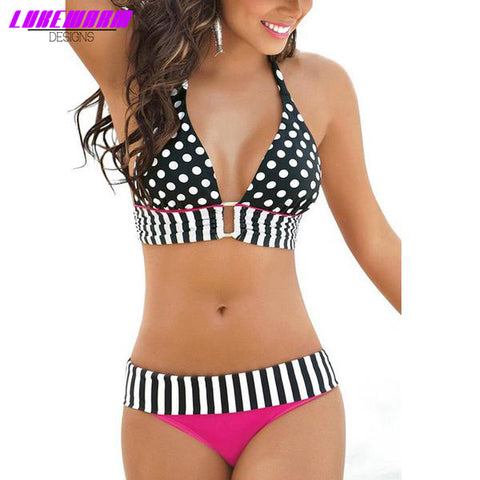Retro Pattern Medium Waist Bikini - Lukewarm Designs