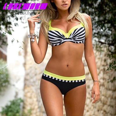 Retro Striped Patchwork Push Up Bikini - Lukewarm Designs