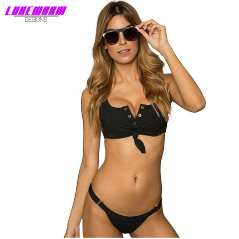 V Neck Bikini With Adjustable Bottoms - Lukewarm Designs