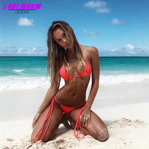 Low Waist Solid Color Bikini With Strings - Lukewarm Designs