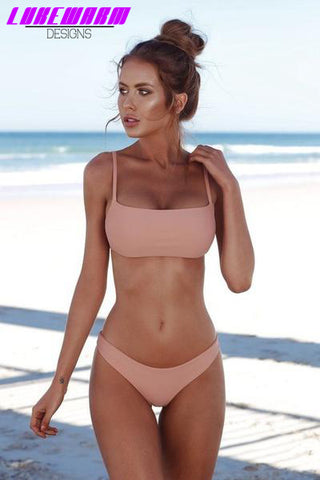 Solid Color Bandeau Push Up Bikini - Lukewarm Designs