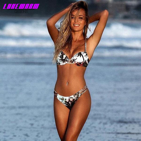 Leaf Print Floral Low Waist Bikini Set - Lukewarm Designs