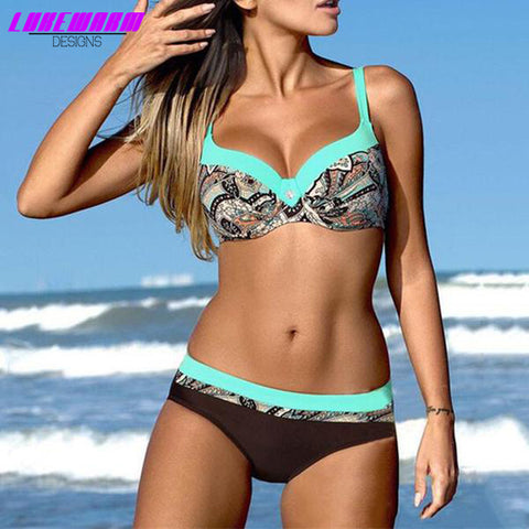 Low Waist Patterned Bikini With Sexy Push Up Top - Lukewarm Designs