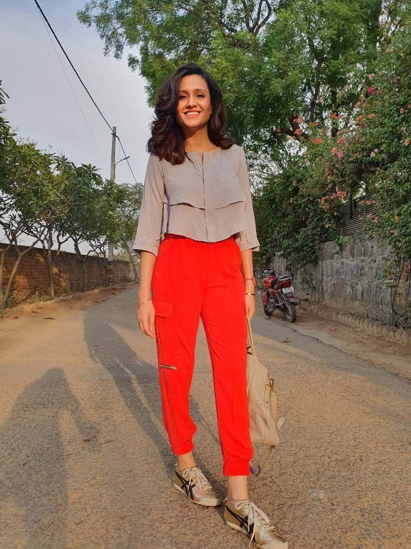 Red Cargo pants - Mitaliwadhwa