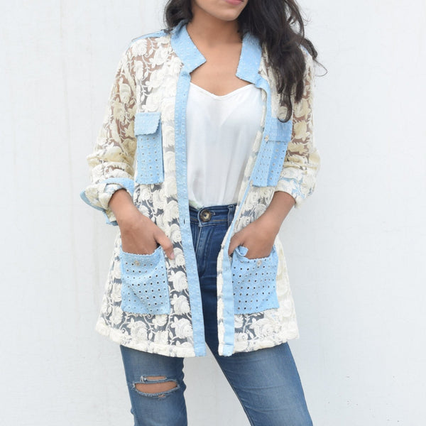 Lace Jacket with Denim Detailing