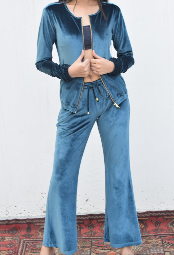Blue Bell Bottom Pants With Bomber