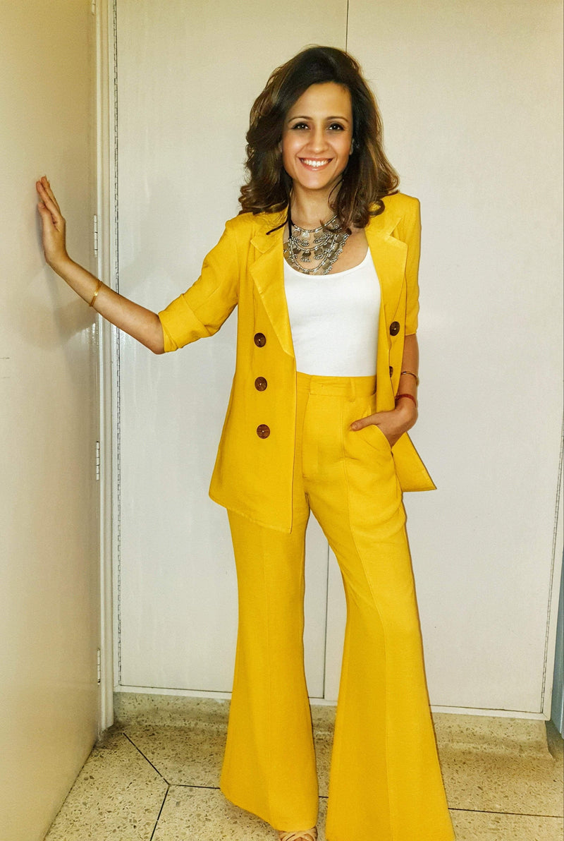 Sunshine yellow pant suit - Mitaliwadhwa