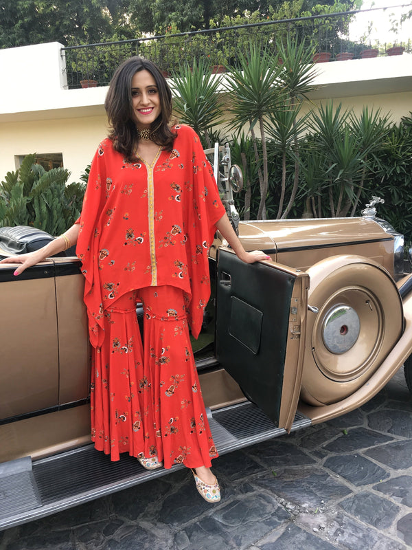 Printed Sharara and Kaftan Kurta Set