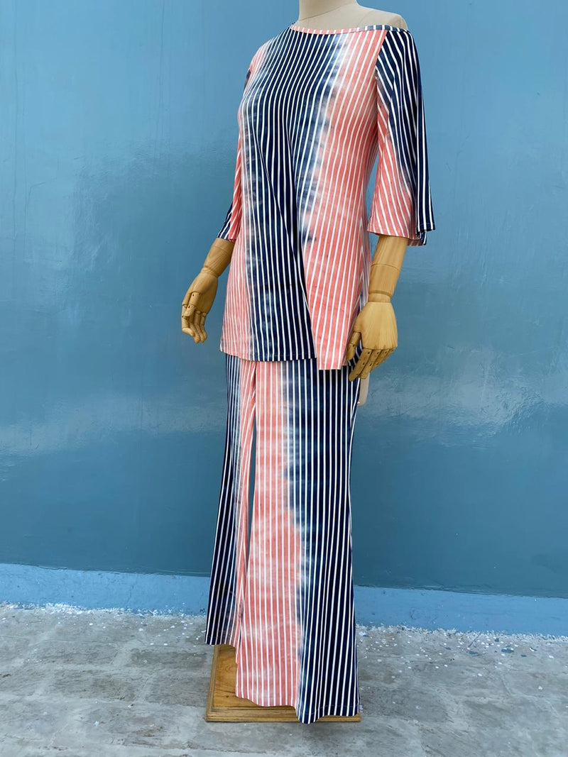 Stripes Off Shoulder Set