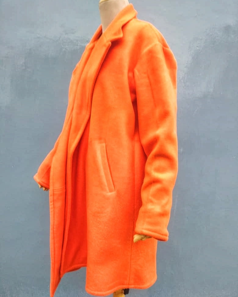 Orange Fleece Overcoat