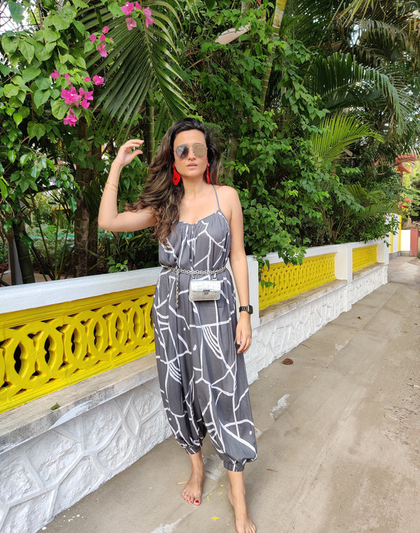Printed Grey Jumpsuit