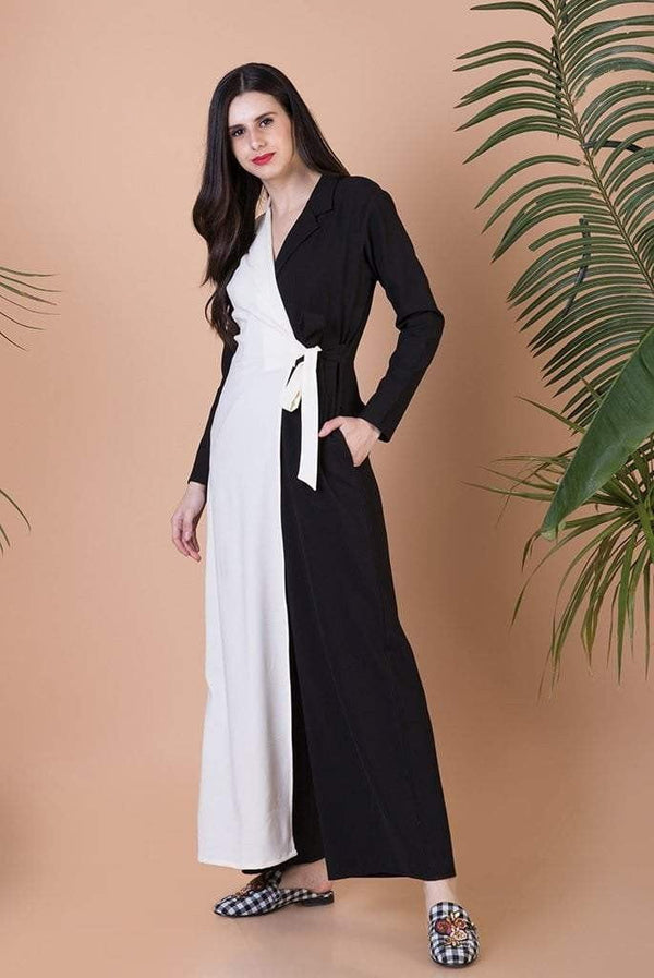 Black & White Panel Jumpsuit with a Front Tie - Mitaliwadhwa